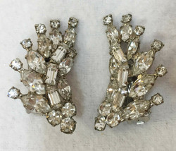 Clip On Earrings Cuffs Shimmering Rhinestone Silver Tone Metal Pair Vint... - $12.86