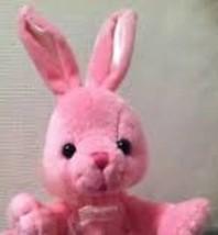"Barbie Pink BUNNY Rabbit Plush 2001 Mattel Pink Ribbon 7"" tall Easter Be... - $9.49"