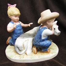 Denim Days 8878 figurine boy & girl with cow The New Calf Denny Debbie - $9.95