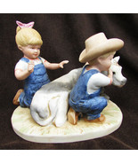 Denim Days 8878 figurine boy & girl with cow The New Calf Denny Debbie - $12.00