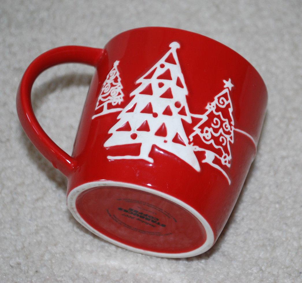 "Starbucks Holiday Coffee Mug 2007 Tea Cup Christmas Red & White Penguin Tree 3"""
