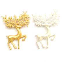 2pcs Brooch Gold Silver Running Deer Christmas Reindeer Frosted Suit Laple Pin - $8.99