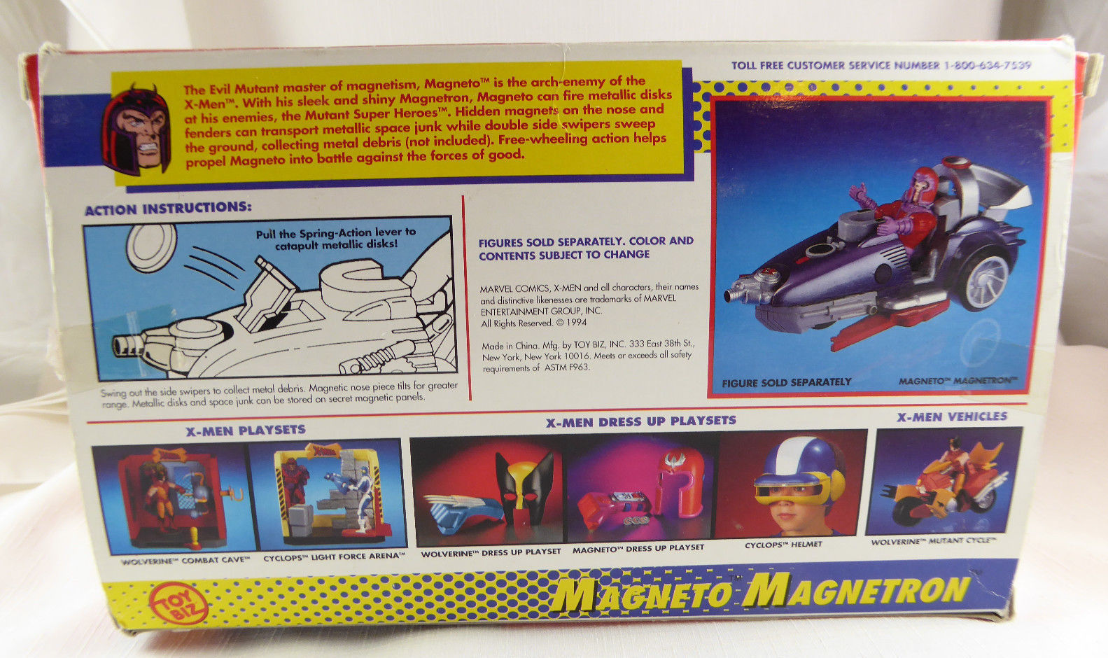 1994~X-MEN MAGNETO MAGNETRON ~ EVIL MUTANT ~ CATAPULT LAUNCHER ~ HIDDEN PANELS