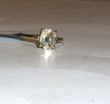 10K Yellow Gold Yellow Faceted Sunstone Oval & Champagne Diamond, Size 7... - $185.00