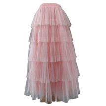 PINK TIERED Tulle Skirt Lady High Waist Tiered Tulle Party Skirt Princess Outfit image 2