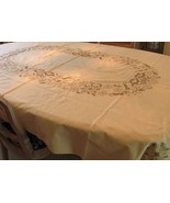 "Hand Embroidered Neutral Vintage Tablecloth 88"" Long - $85.00"