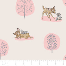 "Disney Bambi Forest Scene Light Pink Camelot 100% cotton Fabric Remnant 16"" - $4.89"