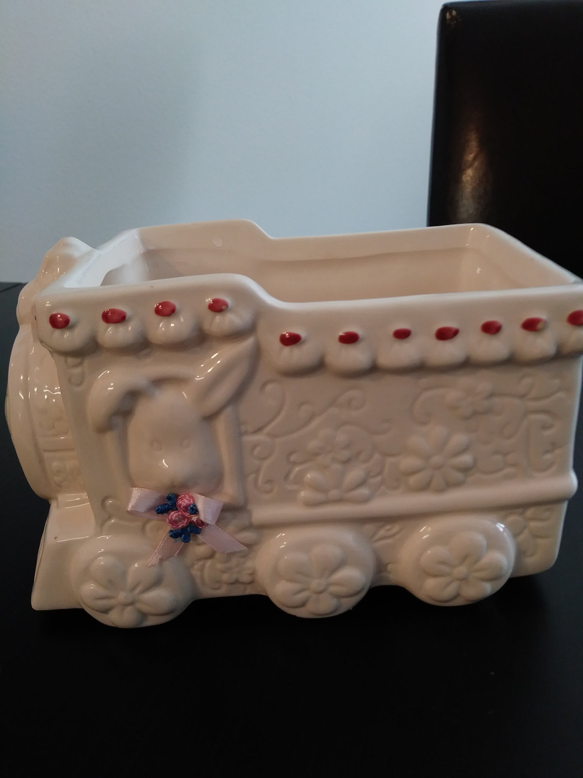 Vintage Hand Painted White Flowered Train Ceramic Planter Made in China