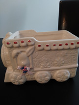 Vintage Hand Painted White Flowered Train Ceramic Planter Made in China image 1
