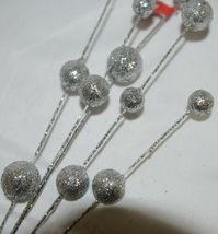 Unbranded CSBRY804 Glittery Silver Ball Holiday Spray Decoration image 5
