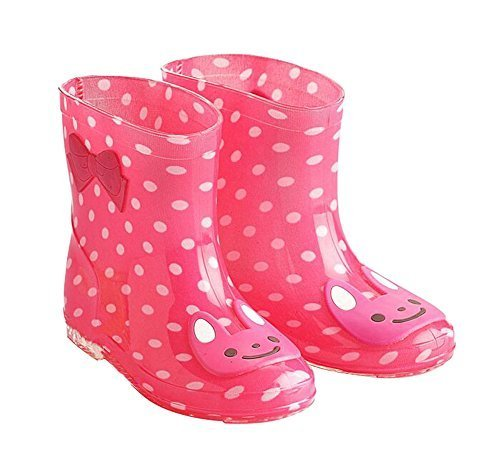 Cute Starry Kids' Rain Boots Pink Rabbit Children Rainy Days Shoes 15CM