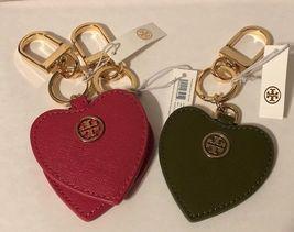 Tory Burch Saffiano Leather Heart Key Fob Ring Charm Gold Tone Dark Pink... - £33.67 GBP