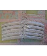 white satin hanger, 5 satin padded hangers, lingerie hanger, padded clot... - $15.00