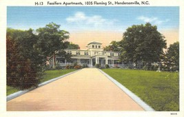 HENDERSONVILLE, North Carolina NC  FASSIFERN APARTMENTS  ca1940's Linen ... - $6.84