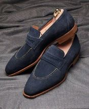 Handmade Men's Navy Blue Slip Ons Loafer Suede Shoes image 3