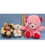 Lot of 3 Valentine Bears 1 Pink Bear by Etone & 2 Bears White & Brown by... - $10.34