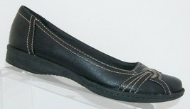 Clarks black leather round toe stitched brogue grommet slip on flats 152... - $33.34