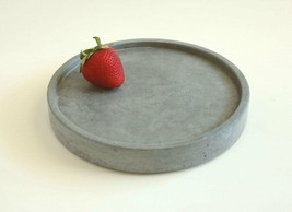 Round Concrete Key Tray, Concrete Valet Tray Handmade Modern Home/Office... - $24.99