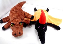 2 Dream Puppets Hand Glove Dinosaurs Trex Pteradactyl Plush Toy Teachers... - $16.82