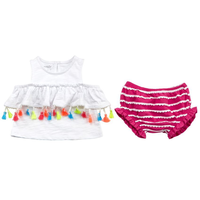 Mud Pie Baby Girl 2 Piece Set: Tassel Pinafore & Bloomers Size 3-6 Months NEW - $21.95