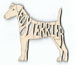 Fox Terrier Dog laser cut wood Magnet - $7.51