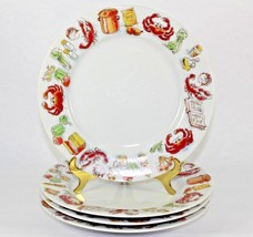 D H Holmes Seafood Gumbo Salad Luncheon Plates Crab Crawfish Okra Rice S... - $70.13