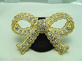 New Without Tags SWAROVSKI SWAN Large Gold Tone Clear Rhinestone Bow Pin... - $37.13