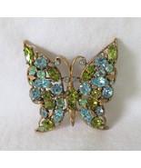 Butterfly Brooch, Green & Blue Rhinestones, Black Light Reactive, Marque... - $22.00