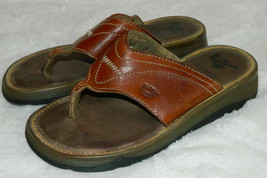 Doc Dr Martens Thongs Flip Flops Sandals Womens 6 Leather Chunky England Brown C - $39.19