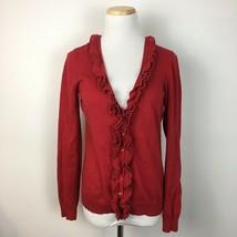 LOFT Ann Taylor Women's Red Ruffled Longsleeve Cardigan Sweater Size Small  - $15.83