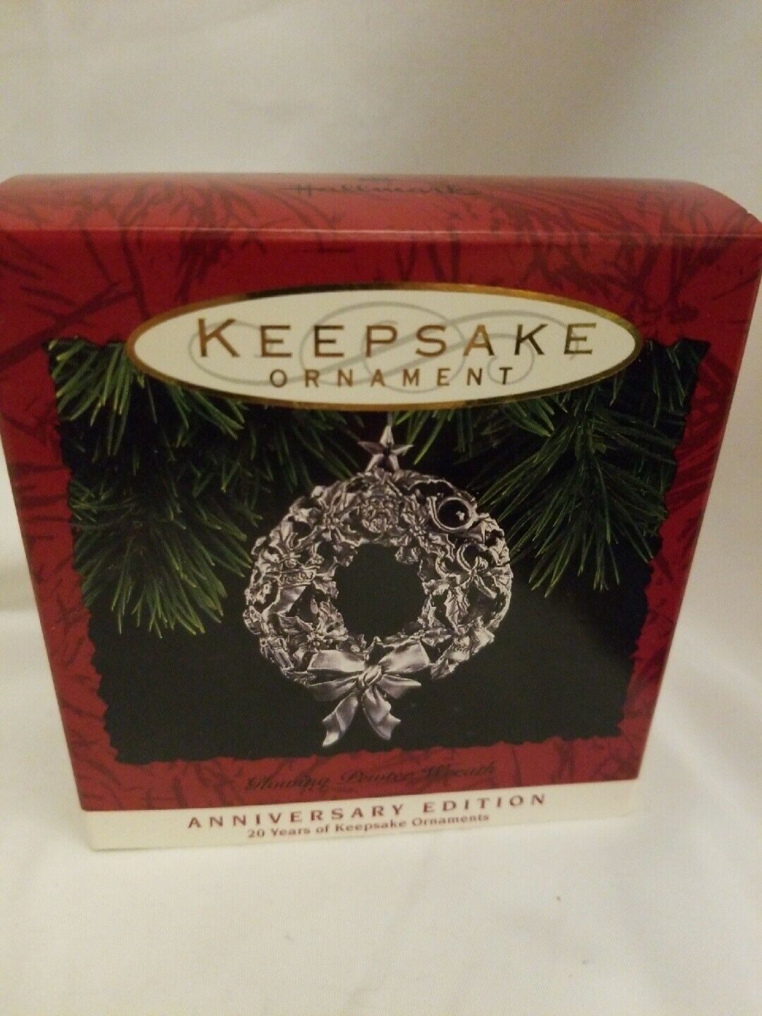 Primary image for Hallmark Keepsake Ornament Pewter Wreath NIB anniversary Edition
