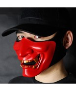 Adult Lower Half Face Red Black White Demons Mask Hunting Accessories Ho... - $15.94