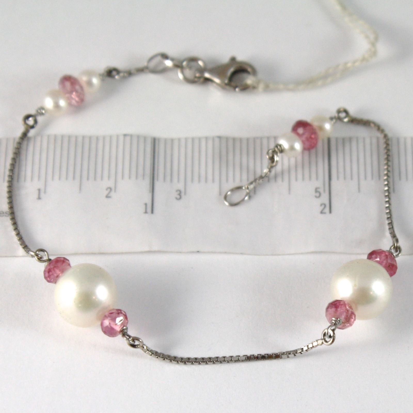 BRACELET WHITE GOLD 750 18K, WHITE PEARLS 9 MM, TOURMALINE RED, CHAIN VENETIAN
