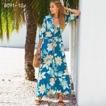 Women's New Boho Floral Print Long Maxi Beach Sundress image 14