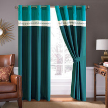 4-Pc Diamond Ornate Damask Embroidery Curtain Set Green Teal Ivory Sheer Liner - $40.89