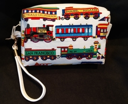 Clutch Bag/Wristlet/Makeup Bag - Trains, locomotive image 2