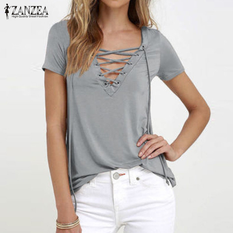ZANZEA Women Blusas 2018 Summer Oversized Sexy V Neck Blouses Short Sleeve Casua