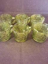 """Set of Six Green Glass Tea Cups 2.5"""" x 3"""" - $19.21"""