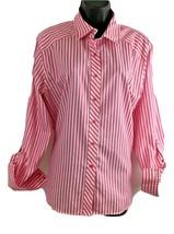 FOXCROFT Non-Iron Women Long Sleeve Button-Up Pink & White Striped Blous... - $37.36