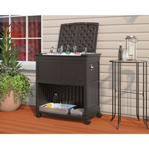 Cooler Station Entertaining Weather Resistant Resin w/ Rolling Caster Ou... - $143.80