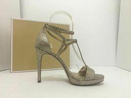 Michael Kors Simone Women Evening Platform High Heels Sandals 6.5 Silver Glitter image 6