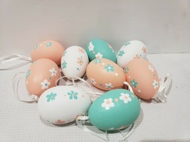 "Easter Spring  Pastel Floral Egg Eggs Ornaments 2.5"" Tree Decor Set of 10 - $13.99"