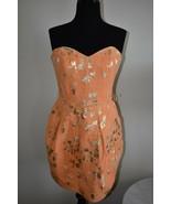 Rubber Ducky Productions Strapless Orange Metallic Pockets Dress Size M ... - $16.39