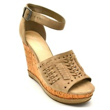 Marc Fisher Womans Hillana Wedge Sandal Sz 9 Beige Suede  Ankle Strap  NEW - $20.77