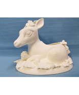 """Christmas Holiday Reindeer Ready to Paint Plaster Figurine Vase White 5"""" - $24.95"""