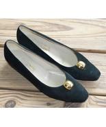 Salvatore Ferragamo Size 10 AAA Black Leather Suede w/ Gold Embellishmen... - $40.37