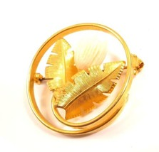 Vintage Floral Gold Plated White Tulip Flower Two Leafs Circle Brooch Pi... - $11.88