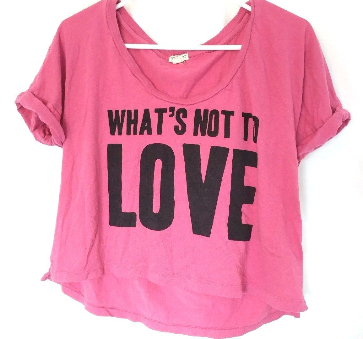 Primary image for FOREVER 21 GIRLS LOVE PINK CROPPED TOP M Womens Juniors Shirt  Heart I LOVE H81