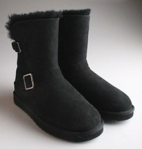 Kirkland Signature Ladies Black Sheepskin Shearling Winter Buckle Boot