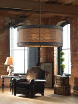 3 Light Hanging Drum Shade Chandelier Horchow Pendant Light Fixture Navarra - $357.19